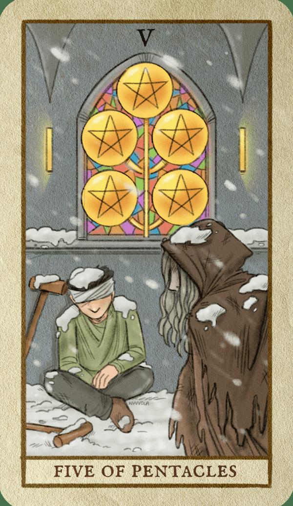 ý nghĩa lá bài Five of Pentacles